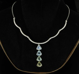 24CT AQUAMARINE 2.35CT DIAMOND NECKLACE!