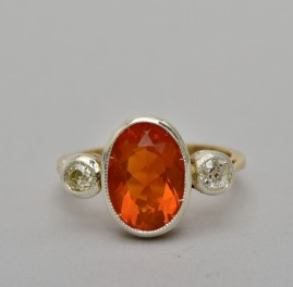 A DELIGHTFUL LATE ART DECO NATURAL FIRE OPAL & DIAMOND THREE STONE RING!