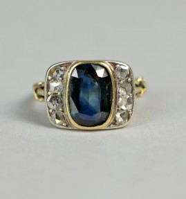 A PRETTY GENUINE VICTORIAN 1.80 CT NATURAL SAPPHIRE DIAMOND RING!