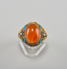 ANTIQUE GILDED SILVER CARNELIAN ENAMELING BROOCH & RING 1900 CA_1