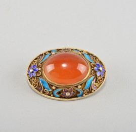 ANTIQUE GILDED SILVER CARNELIAN ENAMELING BROOCH & RING 1900 CA_2