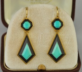 BLACK ONYX NATURAL TURQUOISE RARE INTARSIO VINTAGE 18 KT DROP EARRINGS!