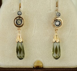 DELIGHTFUL LATE VICTORIAN OLD DIAMOND REAL TOURMALINE DROP EARRINGS!