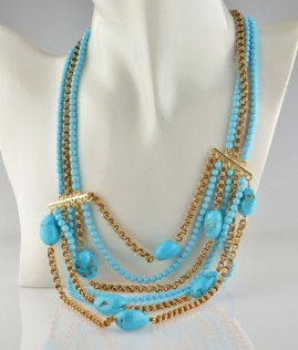 EXCLUSIVE NATURAL PERSIAN TURQUOISE & 18KT MULTICHAIN VINTAGE NECK & BRACELET!