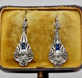EXQUISITE GENUINE ART DECO DIAMOND & SAPPHIRE DROP EARRINGS 1925 CA!