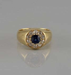 GEN. VICTORIAN 1.70 CT NATURAL SAPPHIRE & 1.10 CT OLD MINE DIAMOND GENTS RING 1890 CA!
