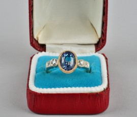 GENUINE ART DECO 4.77 CT NATURAL SAPPHIRE & DIAMOND SOLITAIRE RING!