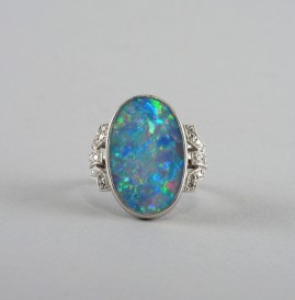 GENUINE ART DECO LARGE SOLID BLACK OPAL & DIAMOND PLATINUM RING 1925!