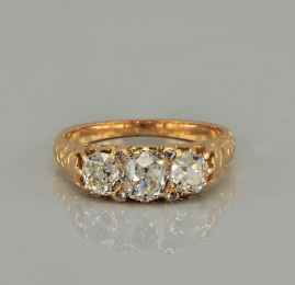 GENUINE VICTORIAN 2.00 CT OLD CUT DIAMOND TRILOGY RING - WOW!