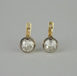 GENUINE VICTORIAN RUSSIAN MARKS 2.0 CT DIAMOND SOLITAIRE RARE EARSTUDS!