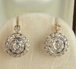 LATE VICTORIAN 2.30 CT ROSE CUT DIAMOND GORGEOUS EARRINGS!
