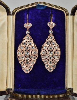 MAGNIFICENT NEAR 5.0 CT ROSE CUT DIAMOND EDWARDIAN ROSE GOLD DROP EARRINGS!