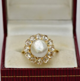 MAGNIFICENT VICTORIAN NATURAL BASRA PERSIAN PEARL 2.40 CT DIAMOND RARE RING!