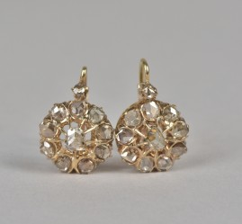 MOST GORGEOUS VICTORIAN 2.50 CT ROSE CUT DIAMOND DROP EARRINGS 1880!