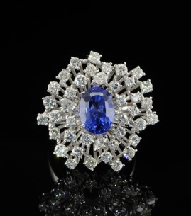 RARE NO HEAT ROYAL BLUE SAPPHIRE & DIAMOND LUXURY VINTAGE RING