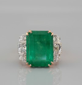 SENSATIONAL 11.80 CT NATURAL EMERALD & DIAMOND HUGE RETRO RING!