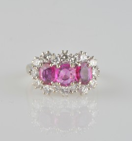 SENSATIONAL 2.90 NATURAL RUBIES & 1.10 CT DIAMOND VINTAGE RING!
