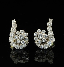 SENSATIONAL DECO 2.90CT DIAMOND SPRAY EARRINGS