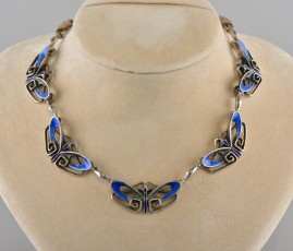 SENSATIONAL ENAMEL BUTTERFLY GENUINE JUNGESTIL SILVER NECKLACE 1910!