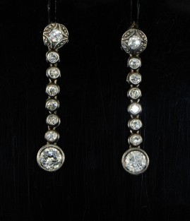 SENSATIONAL VICTORIAN 1.40 CT OLD DIAMOND DROP EARRINGS!