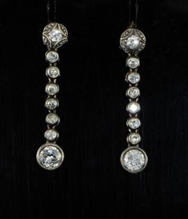 SENSATIONAL VICTORIAN 1.40 CT OLD DIAMOND DROP EARRINGS!