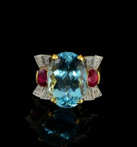 SPECTACULAR 15.50 AQUAMARINE 1.40 CT RED RUBY & DIAMOND AN UNIQUE RETRO RING!