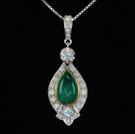 SPECTACULAR 2.40 NATURAL EMERALD 1.26 CT DIAMOND VINTAGE NECKLACE!