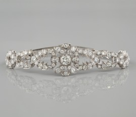 SPECTACULAR 3.65 CT DIAMOND GENUINE ART DECO DISTINCTIVE PLATINUM BRACELET 20'S!