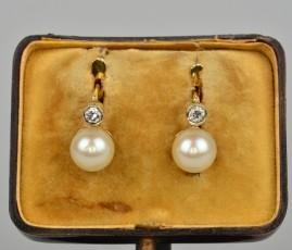 SPECTACULAR ART DECO PEARL & DIAMOND DOUBLE SOLITAIRE EARRINGS!