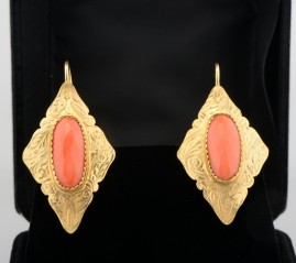 SPECTACULAR ART NOUVEAU ITALIAN CORAL ANTIQUE DROP EARRINGS 9KT!
