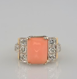 SPECTACULAR GENUINE ART DECO PINK ANGEL SKIN CORAL TOP RATED DIAMONDS RING!