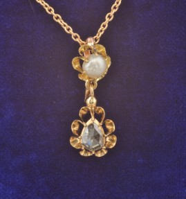 SPECTACULAR GENUINE GEORGIAN NATURAL PEARL HALF CARAT DIAMOND RARE PENDANT!