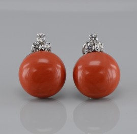 SPECTACULAR  NATUARL RARE CORAL & DIAMOND LARGE BUTTON EARRINGS- THE BEST!