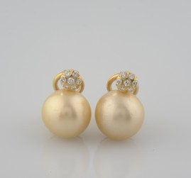 SPECTACULAR OLD HUGE SOUTH SEA GOLD PEARL & DIAMOND EARRINGS 1940 CA!