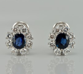 SUPERB 2.40 CT NATURAL SAPPHIRE & 1.40 CT DIAMOND VINTAGE EARRINGS