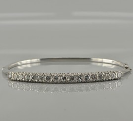 SUPERB 3.20CT DIAMOND HALF RIVIERE VINTAGE BANGLE