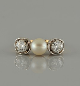 SUPERB GENUINE VICTORIAN NATURAL PEARL & DIAMOND TRILOGY RING 1880-1900 CA!