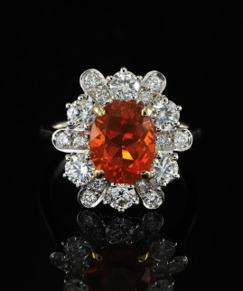 SUPERBLY BEAUTIFUL FIRE OPAL & DIAMOND FLOWER INSPIRED VINTAGE RING!