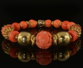 Superb intense pink salmon natural coral 18 kt unique bangle