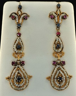 VICTORIAN ETRUSCAN REVIVAL RUBY SAPPHIRE SEED PEARL LONG DROP EARRINGS!
