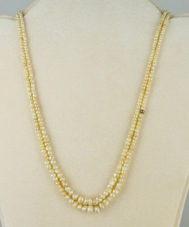 VICTORIAN SUPERB DOUBLE NATURAL BASRA PEARL NECKLACE FROM THE PERSIAN GULF!