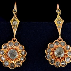 GENUINE VICTORIAN 3.80 CT ROSE CUT DIAMOND DROP EARRINGS 1880 Ca!