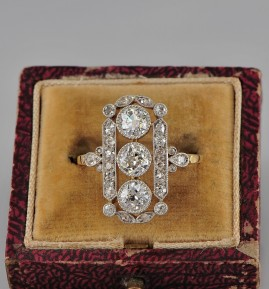 GENUINE EDWARDIAN 2.20 CT DIAMOND HEIRLOOM PANEL RING!