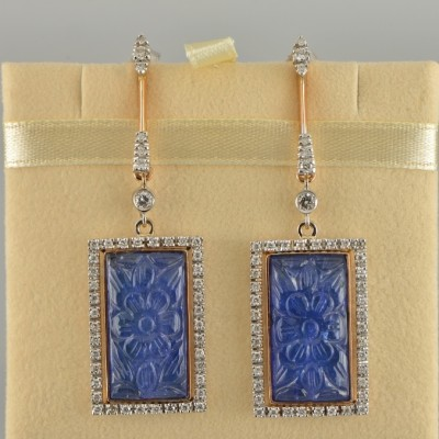 LUXURY 30. CT CARVED TANZANITE AND DIAMOND EXCLUSIVE LONG DROP EARRINGS- WOW!