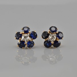 DELIGHTFUL 5.0 CT NATURAL ROYAL BLUE SAPPHIRE .50 CT DIAMOND VINTAGE EARRINGS!