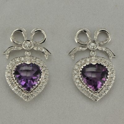 SPECTACULAR 20.0 CT SIBERIAN AMETHYST 2.70 CT DIAMOND BOW & HEART VINTAGE EARRINGS!