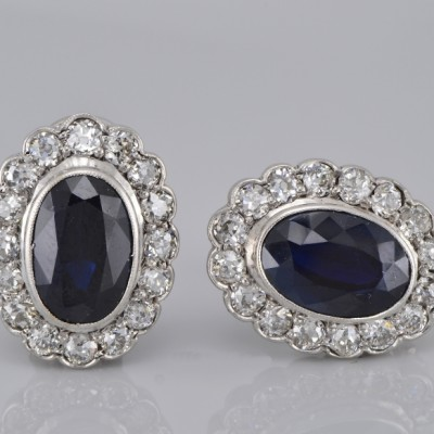GENUINE ART DECO 8.40 CT NATURAL SAPPHIRE & 2.60 CT OLD CUT DIAMOND PLATINUM EARRINGS!
