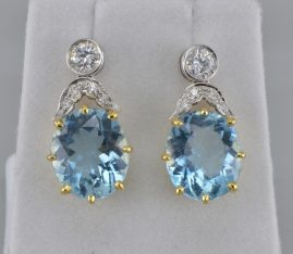 STUNNING 13.0 CT NATURAL AQUAMARINE 1.0 CARAT DIAMOND ART DECO DROP EARRINGS