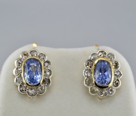 GENUINE VICTORIAN 6.50Ct NO HEAT CEYLON SAPPHIRE 2.30 CT OLD MINE DIAMOND EARRS