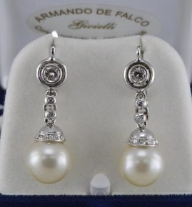 DELIGHTFUL DIAMOND & PEARL VINTAGE SWING DROP EARRINGS 1950 CA